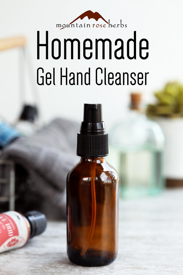 Homemade natural gel hand cleanser Pinterest pin from Mountain Rose Herbs.