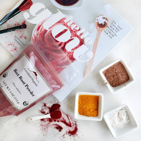 Cover of Hello Glow makeup recipe book by Stephanie Gerber with beet root blush ingredients