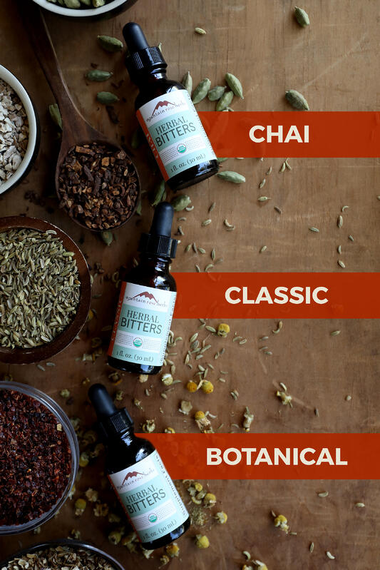 Chai, classic, and botanical bitters from Mountain Rose Herbs.