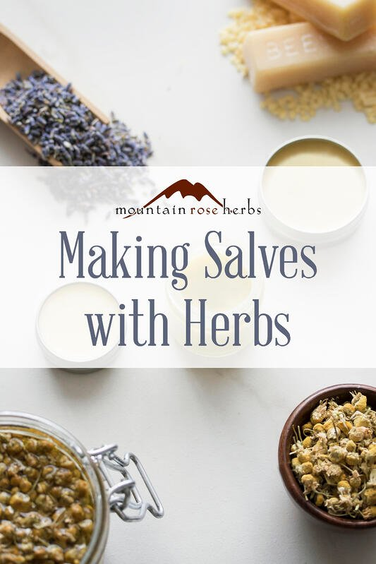Pinterest Pin from Mountain Rose Herbs for blog post on making your own herbal salves for natural skincare.