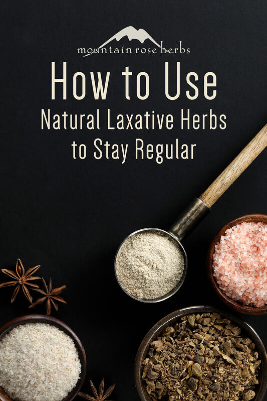 Natural laxative herbal to help with regularity features slippery elm bark powder, star anise, pink salts, and cascara sagrada bark.