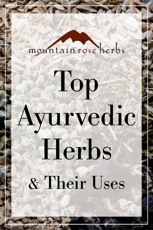 Pinterest link to Mountain Rose Herbs page. Background of herbs mixed together.