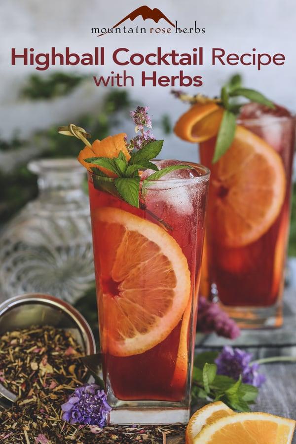 Summer Cocktail: A Refreshing Herbal Highbal Pinterest pin for Mountain Rose Herbs