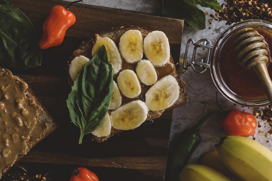 Hot honey banana basil peanut butter sandwich