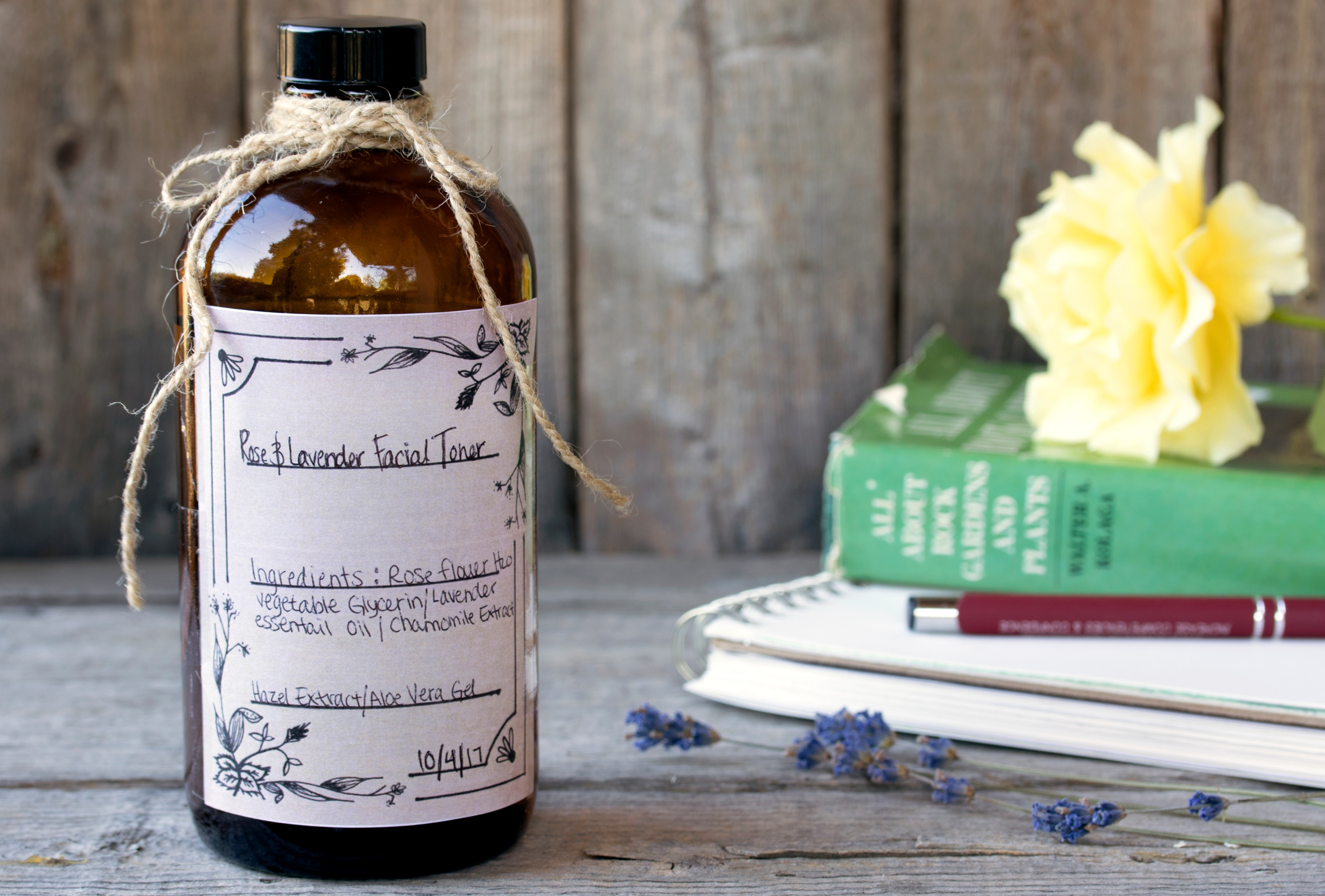 Handmade label on bottle of Rose and Lavender Facial Toner
