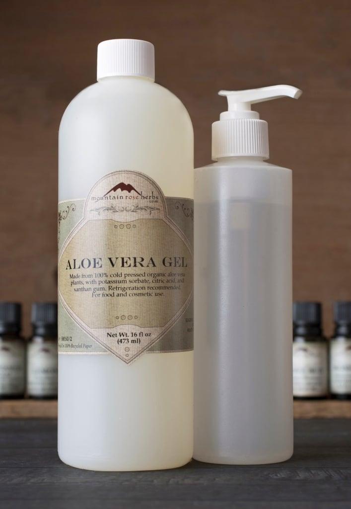 Aloe vera gel and ingredients for DIY recipe