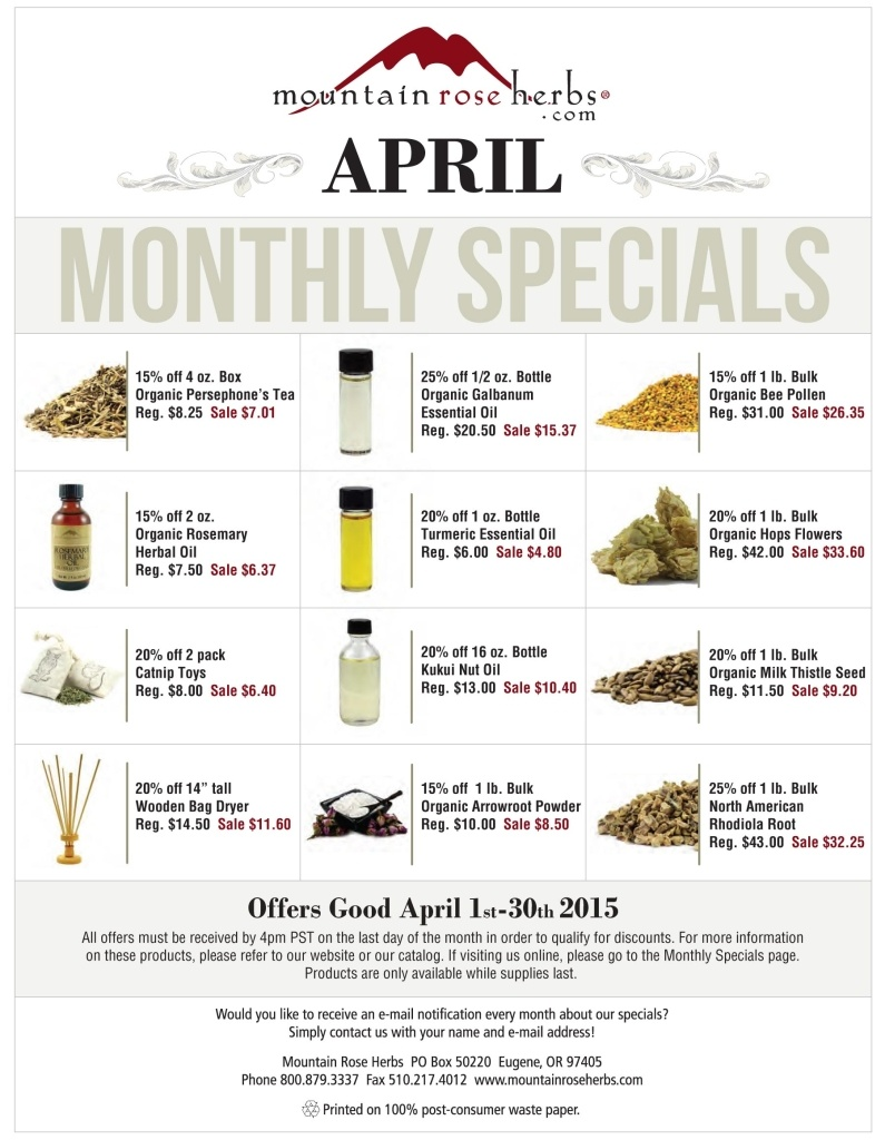 Mountain Rose Herbs Sale Items for April 2015!