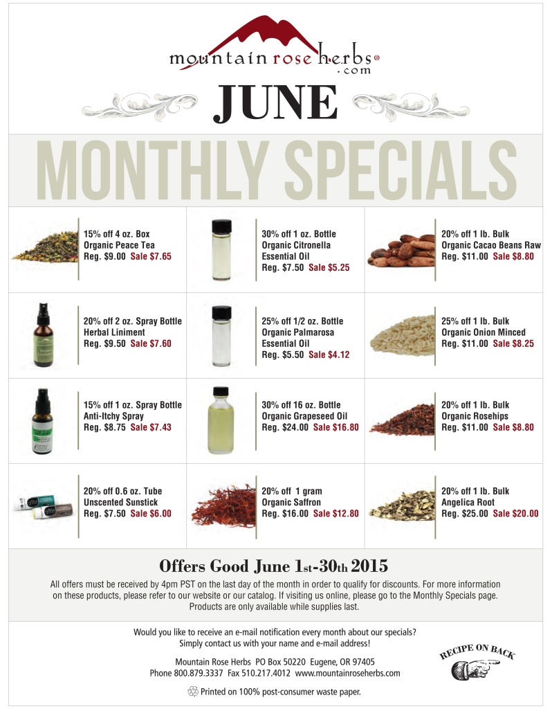 June Sale Items from Mountain Rose Herbs!