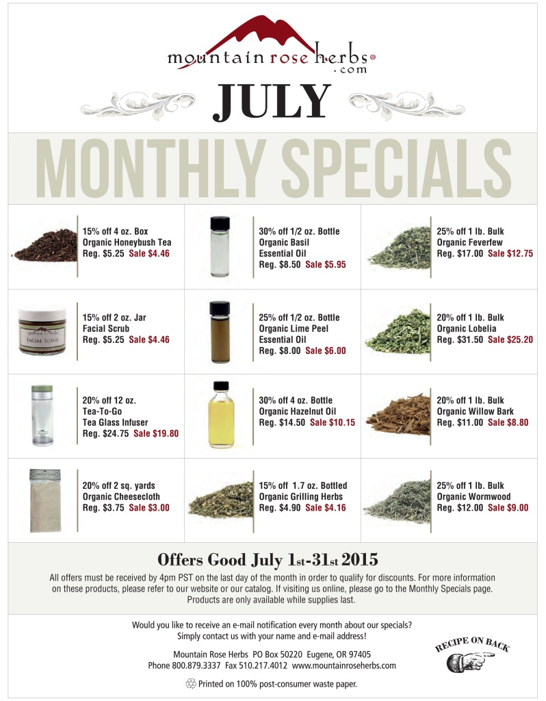 List of discounted items at Mountain Rose Herbs July 2015