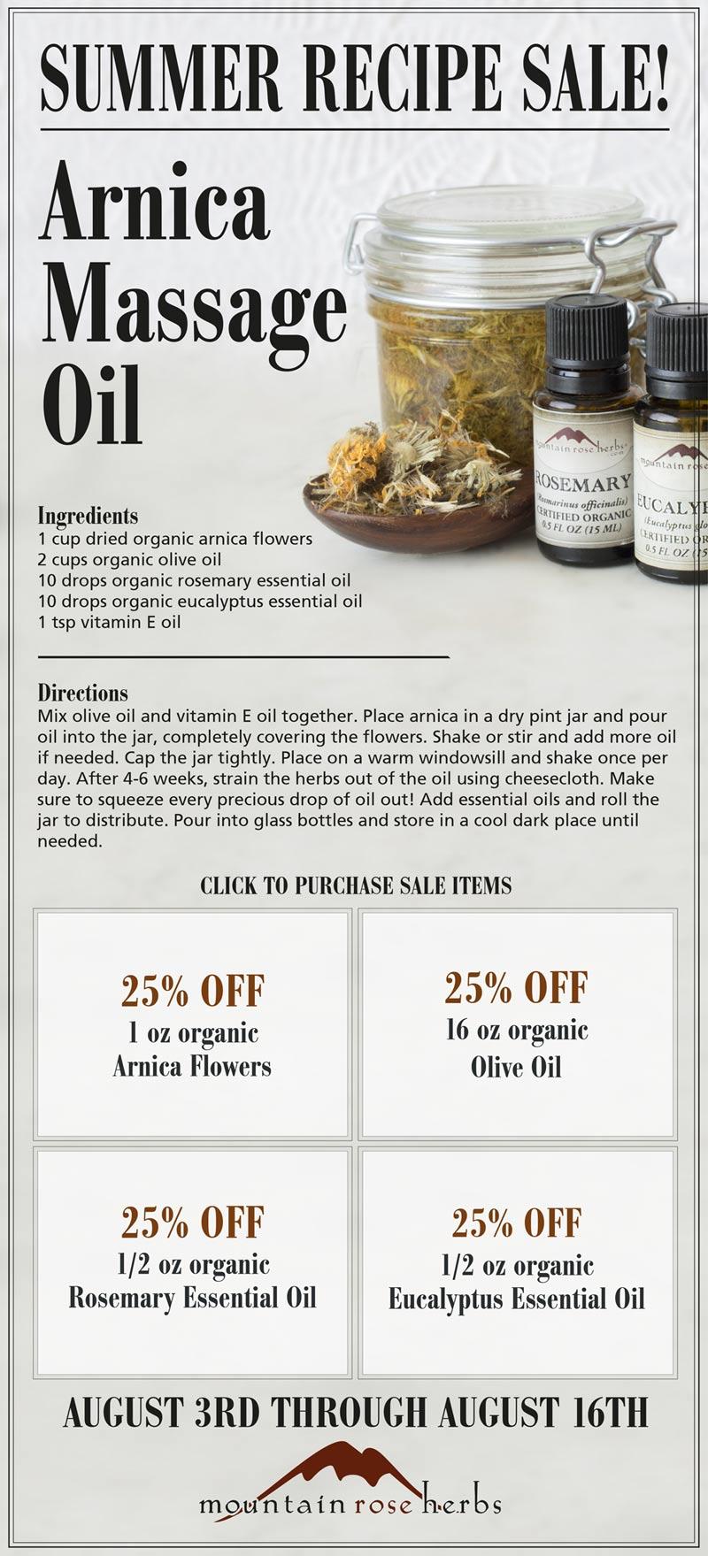 Summer Recipe Sale: 25% off Arnica Massage Oil