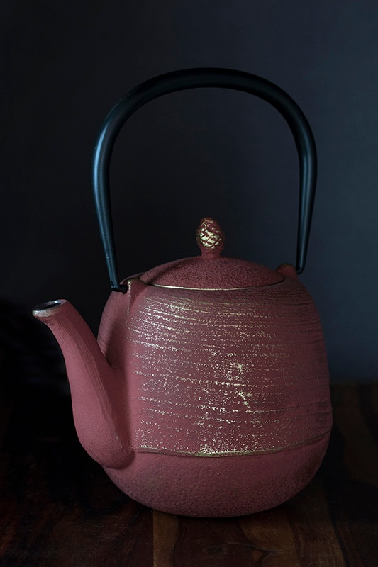 Cast Iron Tea Pot in Gold and Red Colors