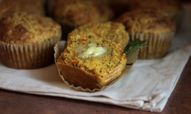 Cheddar Pepper Cornbread Muffins by Mountain Rose Herbs