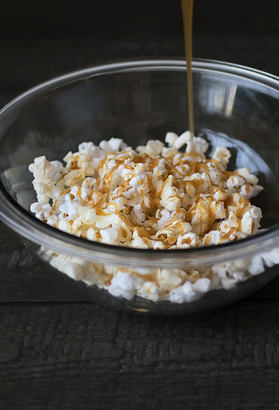 Chipotle honey caramel corn with caramel drizzle