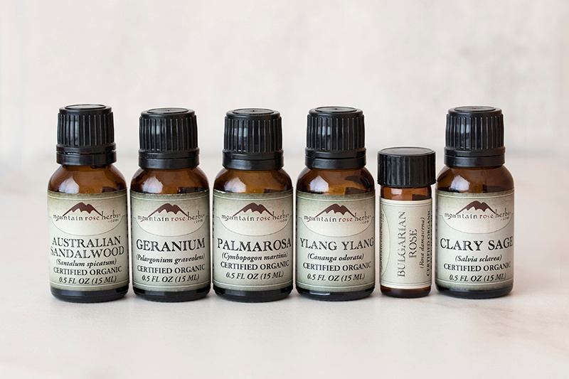 Essential Oils for Valentines Day in bottles