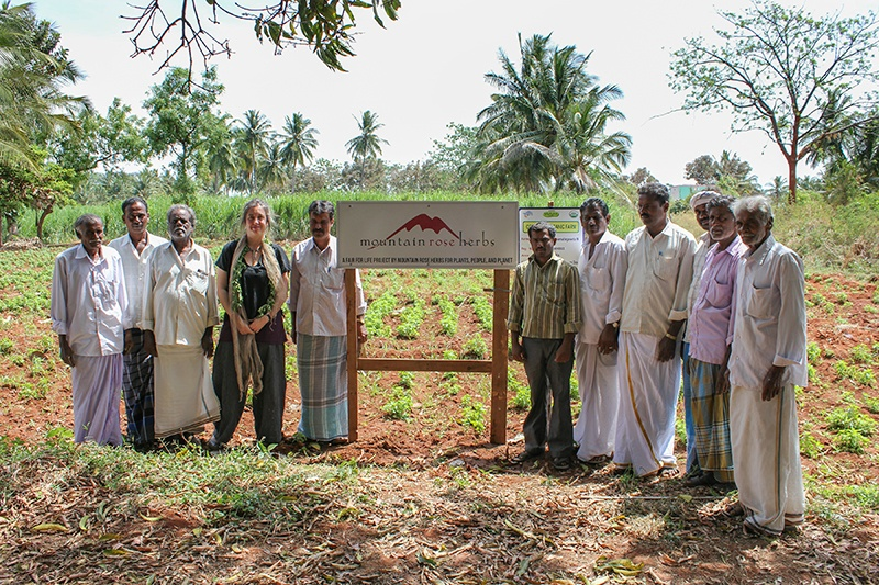 Fair trade farmers in India standing around Mountain Rose Herbs sign in their certified organic field.