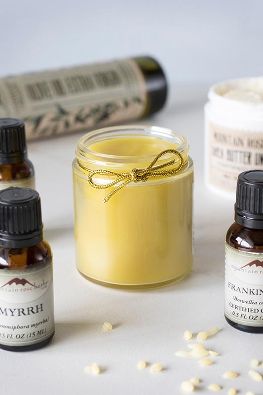 Glass jar with myrrh hand balm