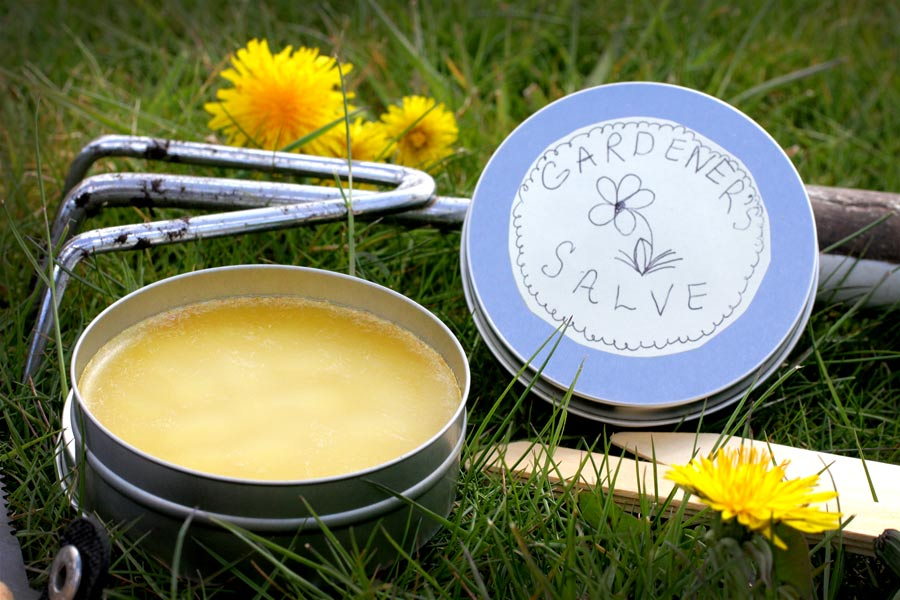 Gardeners salve tin with a pretty label