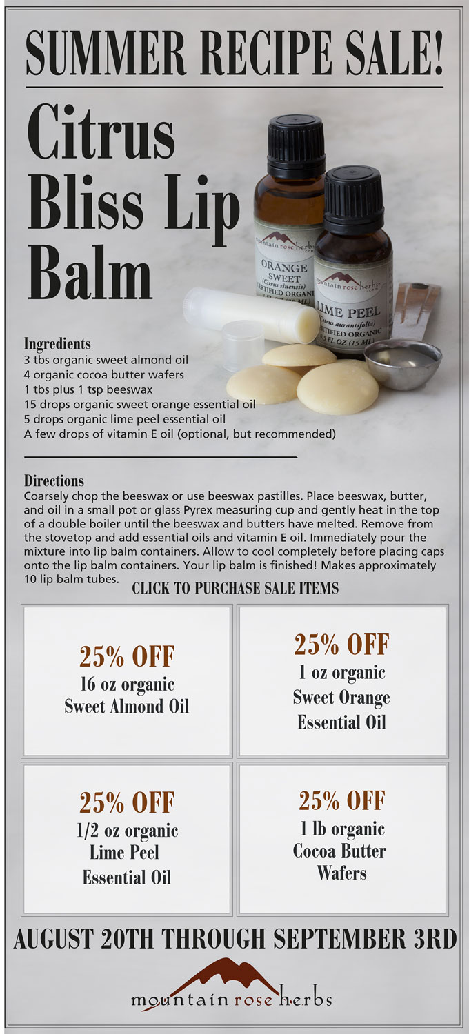 Summer Recipe Sale: 25% off Citrus Bliss Lip Balm