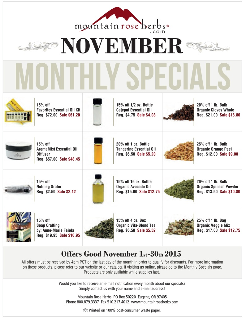 Monthly Specials as Mountain Rose Herbs