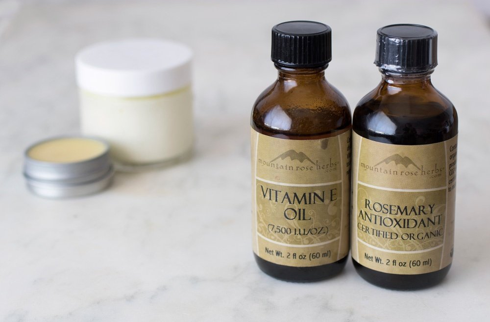 Vitamin E oil and rosemary antioxidant bottles
