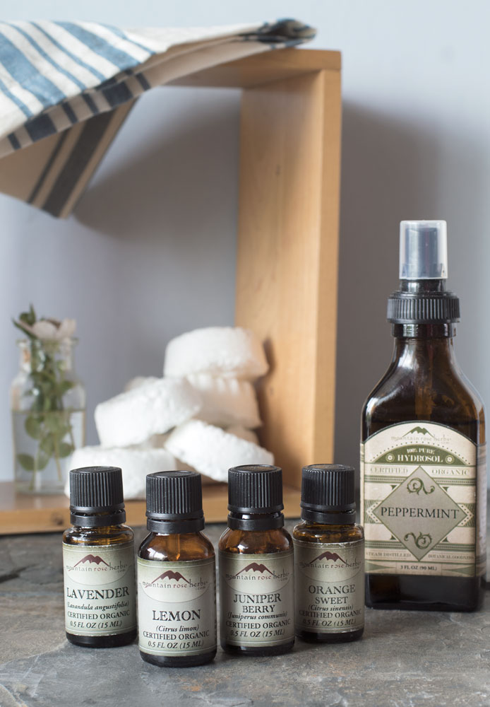 Essential oils and peppermint hydrosol in the bathroom