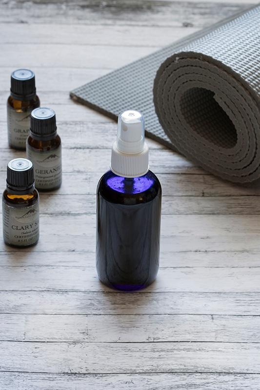 Homemade Yoga Mat Cleaner in bottle