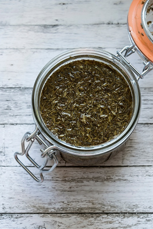 Thyme infusing into witch hazel