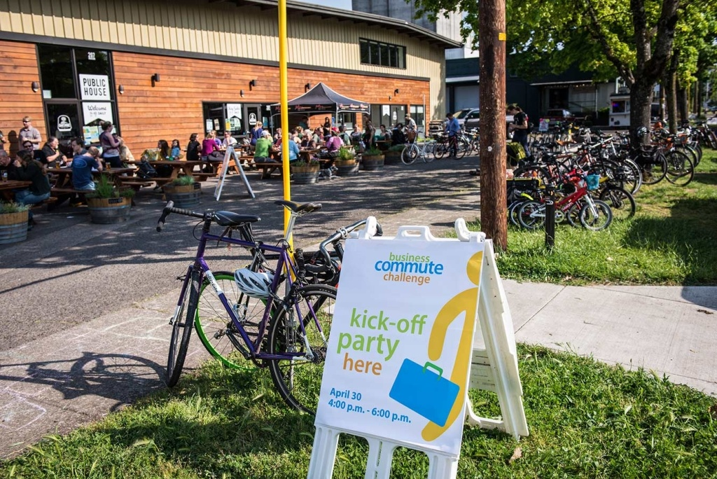 In Front of Oakshire Brewery 2015 Bike Commute Challenge