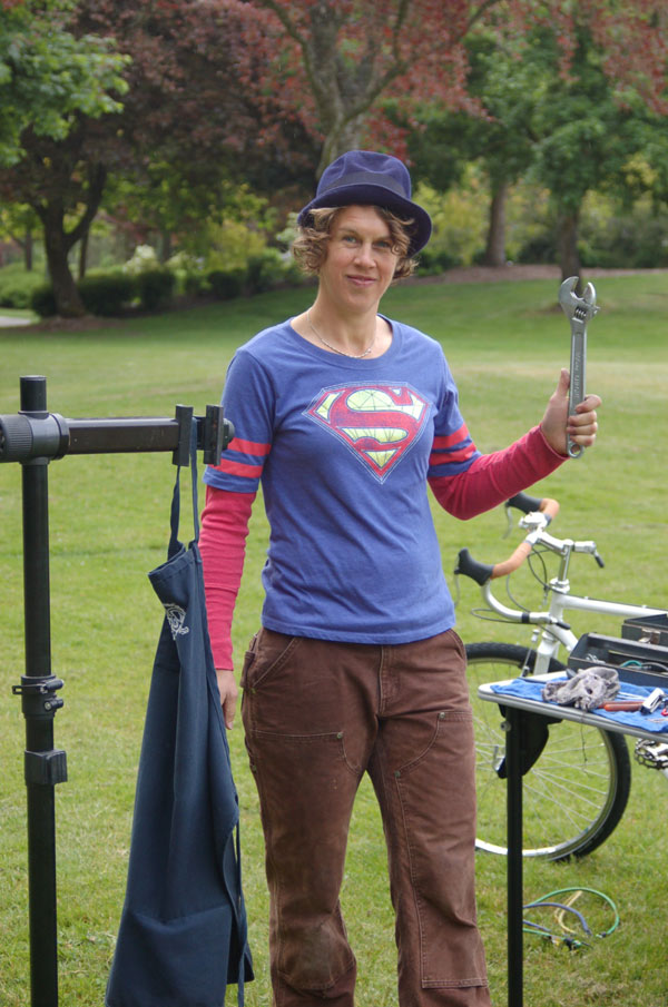 Volunteer Prepares to tune-up bikes