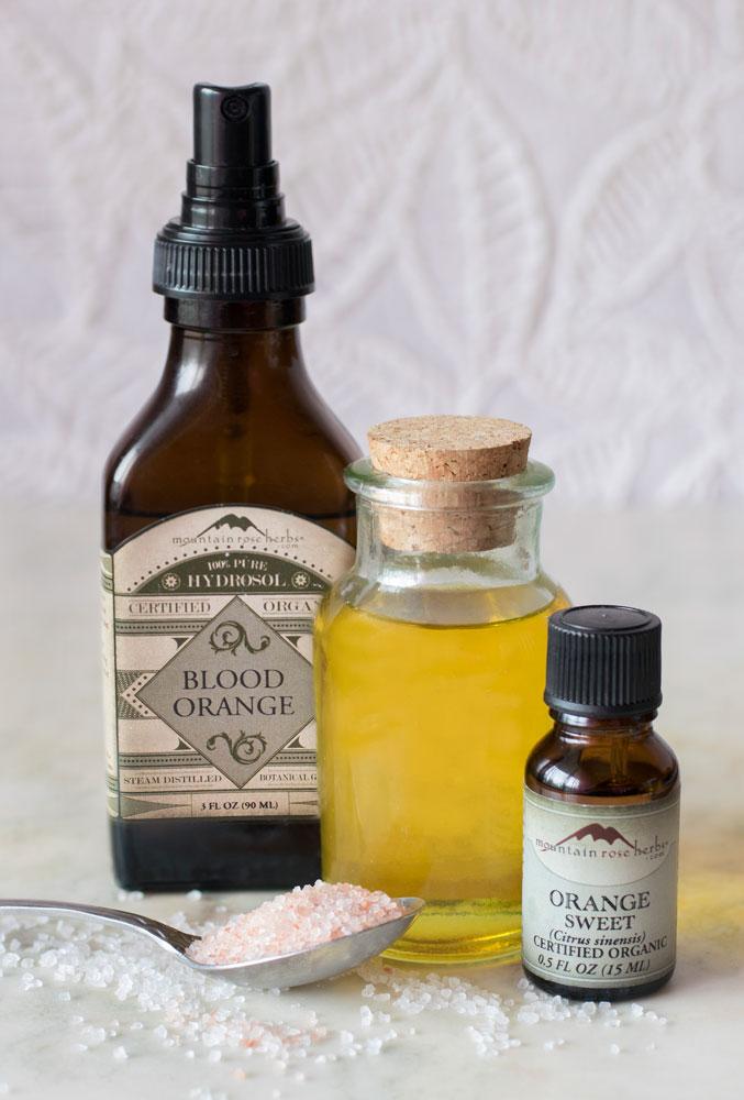 Hydrosols, essential oils, oil, and salt to make aromatic bath oil