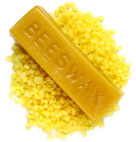 Yellow beeswax pastilles and bars