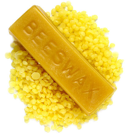 Yellow beeswax pastilles and bars