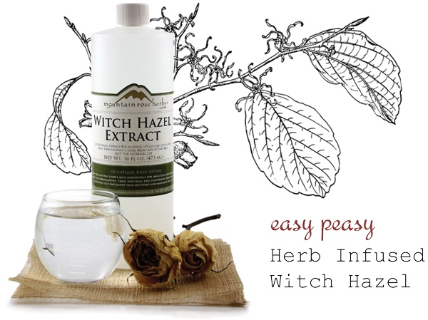 Herb infused witch hazel with ingredients