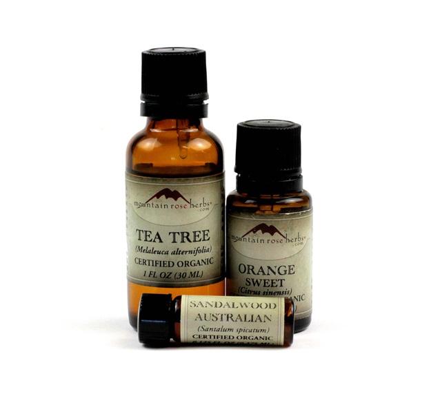 Tea tree, sweet orange and sandalwood essential oil