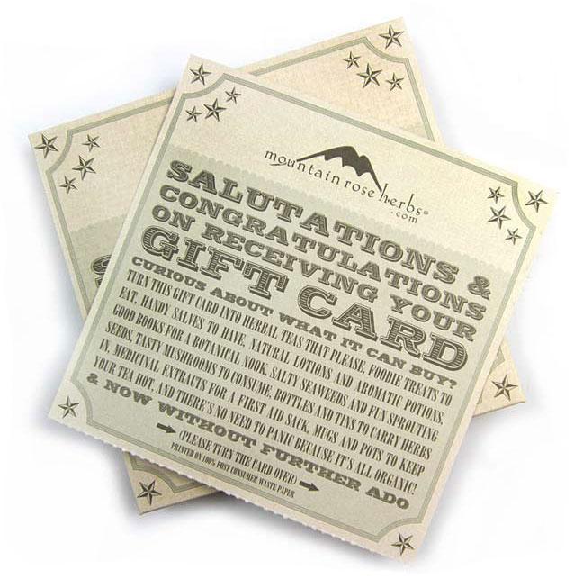 Mountain Rose Herbs Gift Certificate