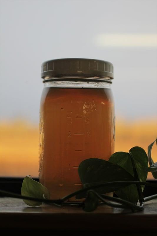 Herbal infusion in mason jar