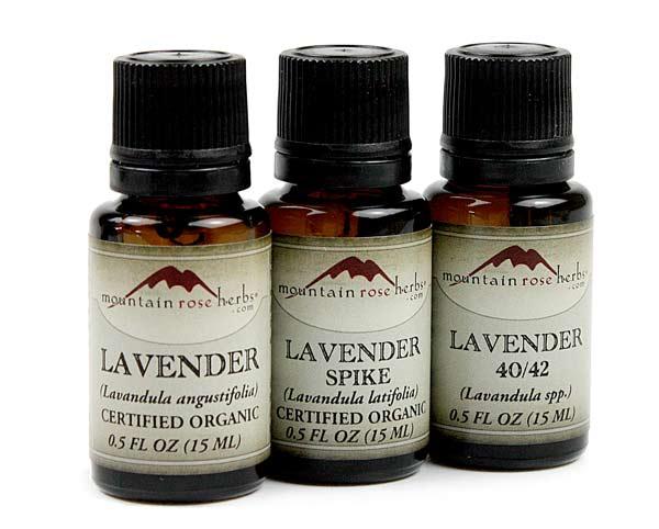 bottles of lavender, lavender spike, and lavender 40/20 essential oil