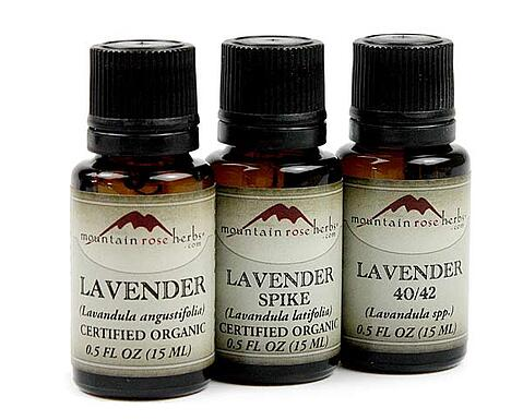 bottles of lavender, lavender spike, and lavender 40/20 essential oil