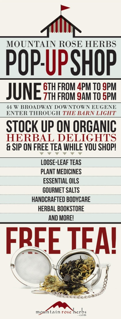 Mountain Rose Herbs Pop-Up Shop in Eugene