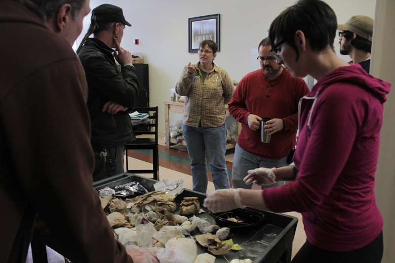 Kelly Bell talks about zero waste with employees at Mountain Rose Herbs