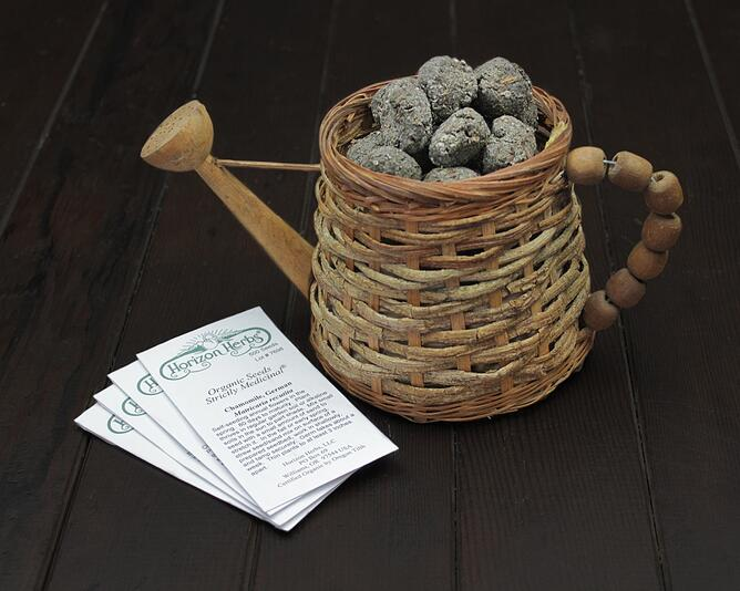 Seed Bombs in Basket with Seed Packets