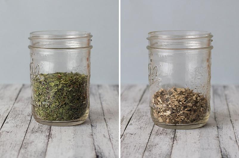 Herbs in ball jars