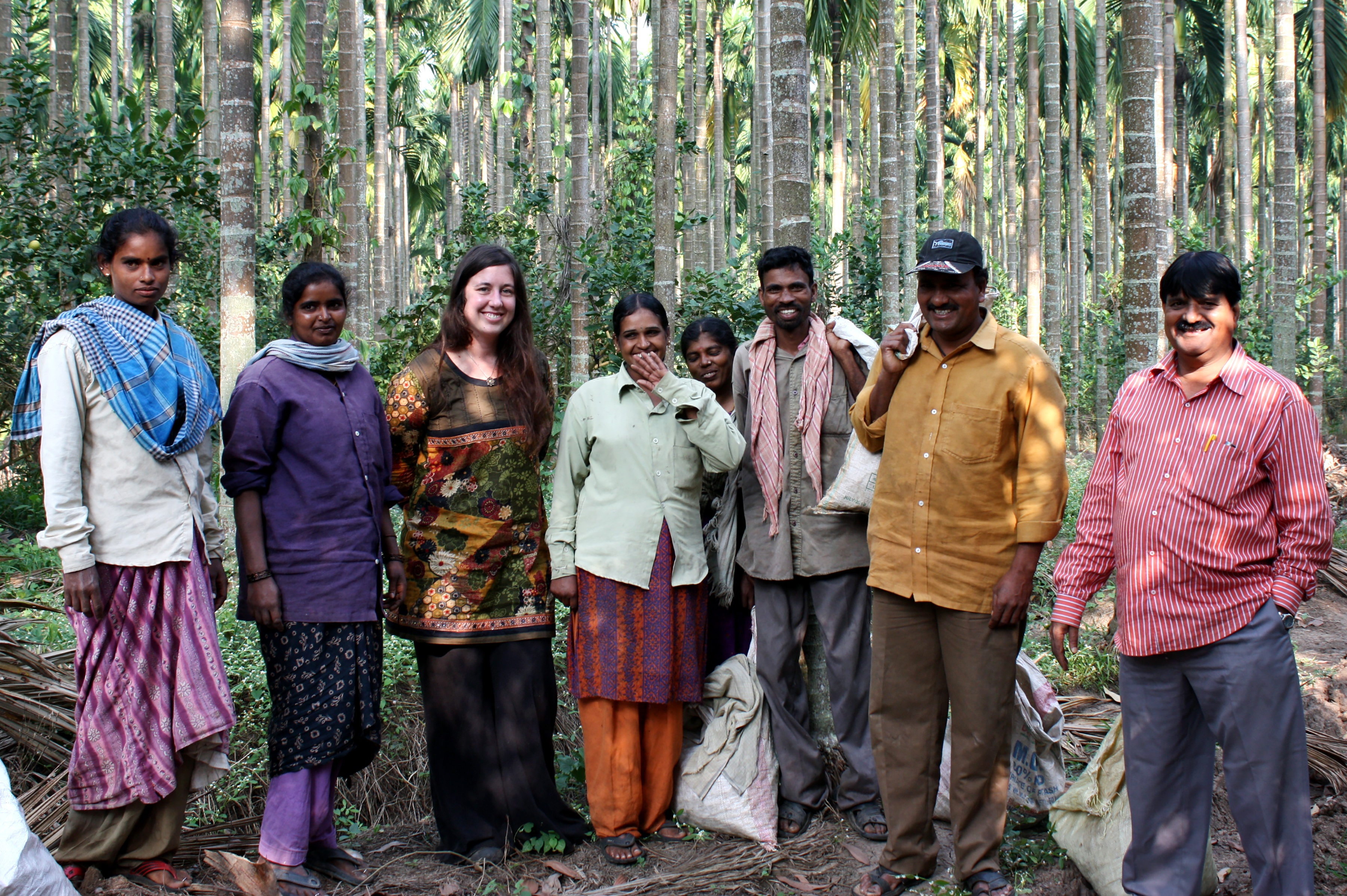 Group of people in forest located in India
