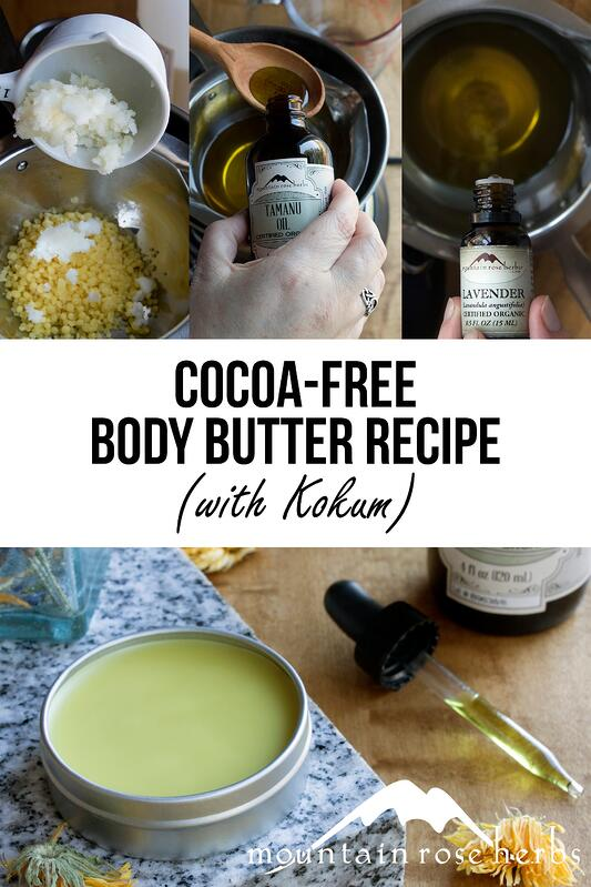 Pin for cocoa-free body butter recipe with kokum butter from Mountain Rose Herbs