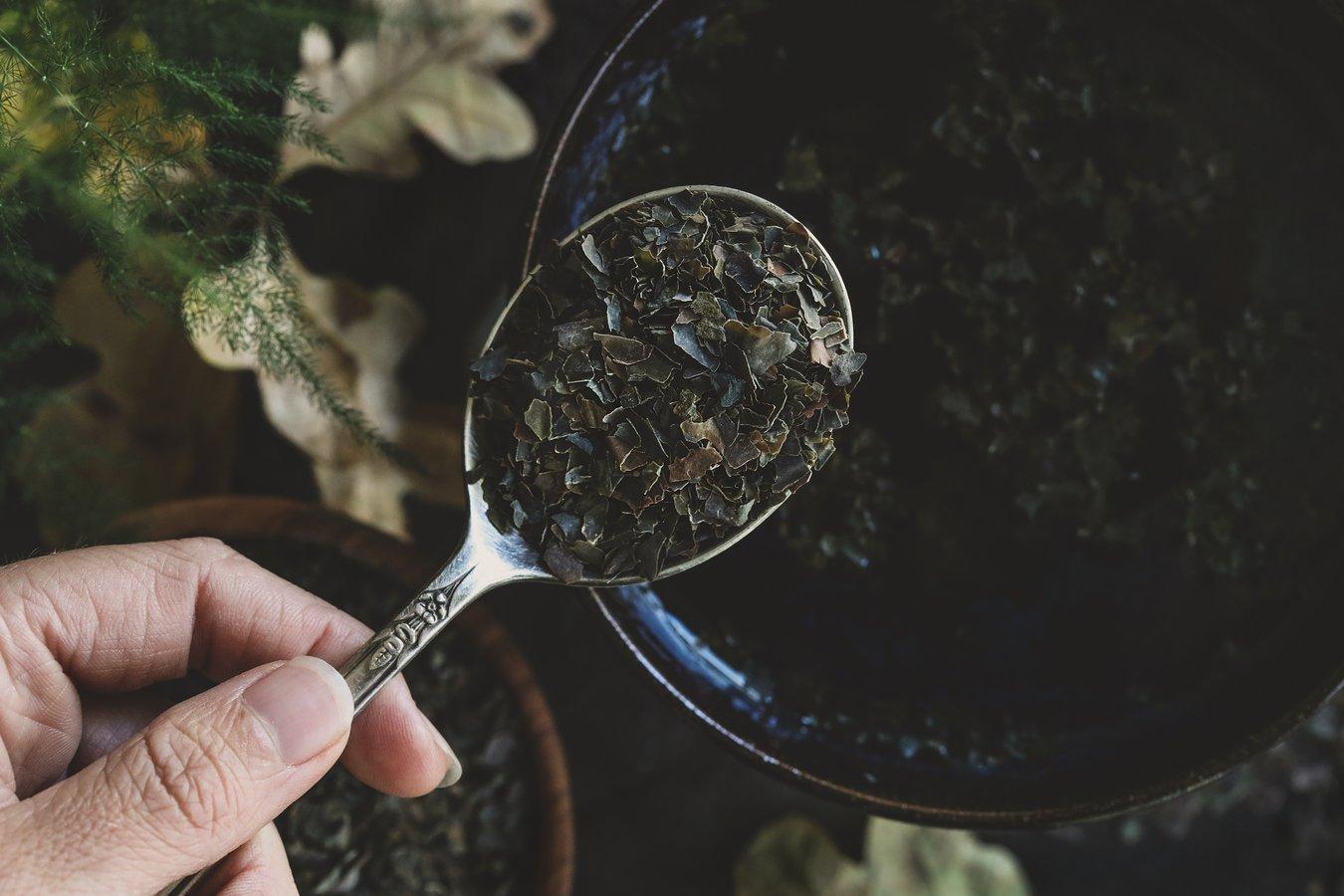 A spoonful of kombu seaweed flakes.