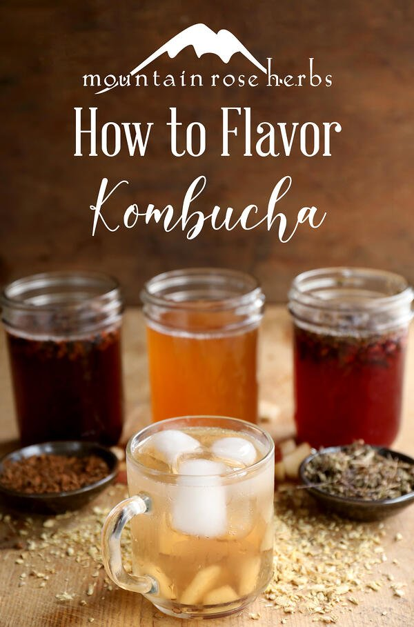 Pinterest link to Mountain Rose Herbs. An assortment of flavored kombucha in glass mason jars with dried herbs and spices. Iced kombucha in a clear mug.
