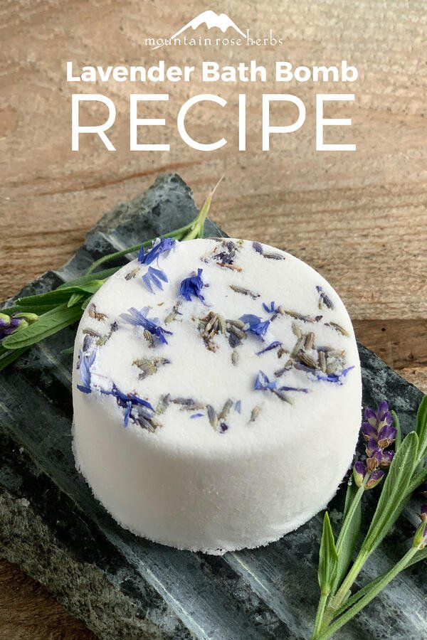 Lavender Bath Bomb Recipe Pinterest pin from Mountain Rose Herbs