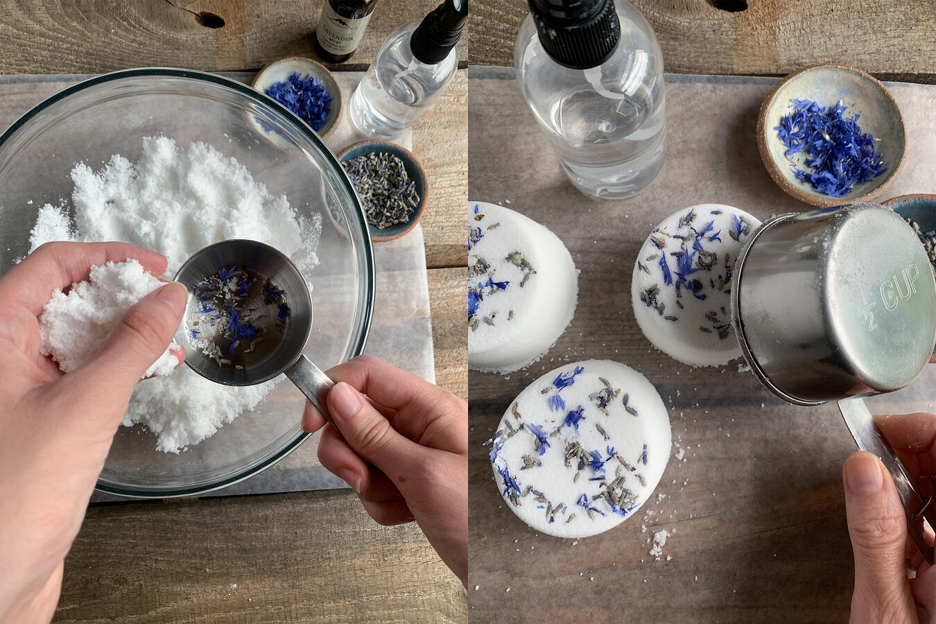 A person making lavender bath bombs, mixing the ingredients in a bowl, forming the bath bombs with a measuring cup, with fresh lavender sprinkled on top