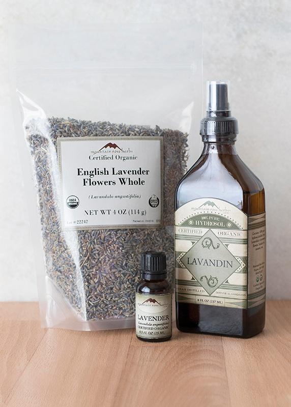 English Lavender Flowers, Lavandin Hydrosol, and Lavender Essential Oil