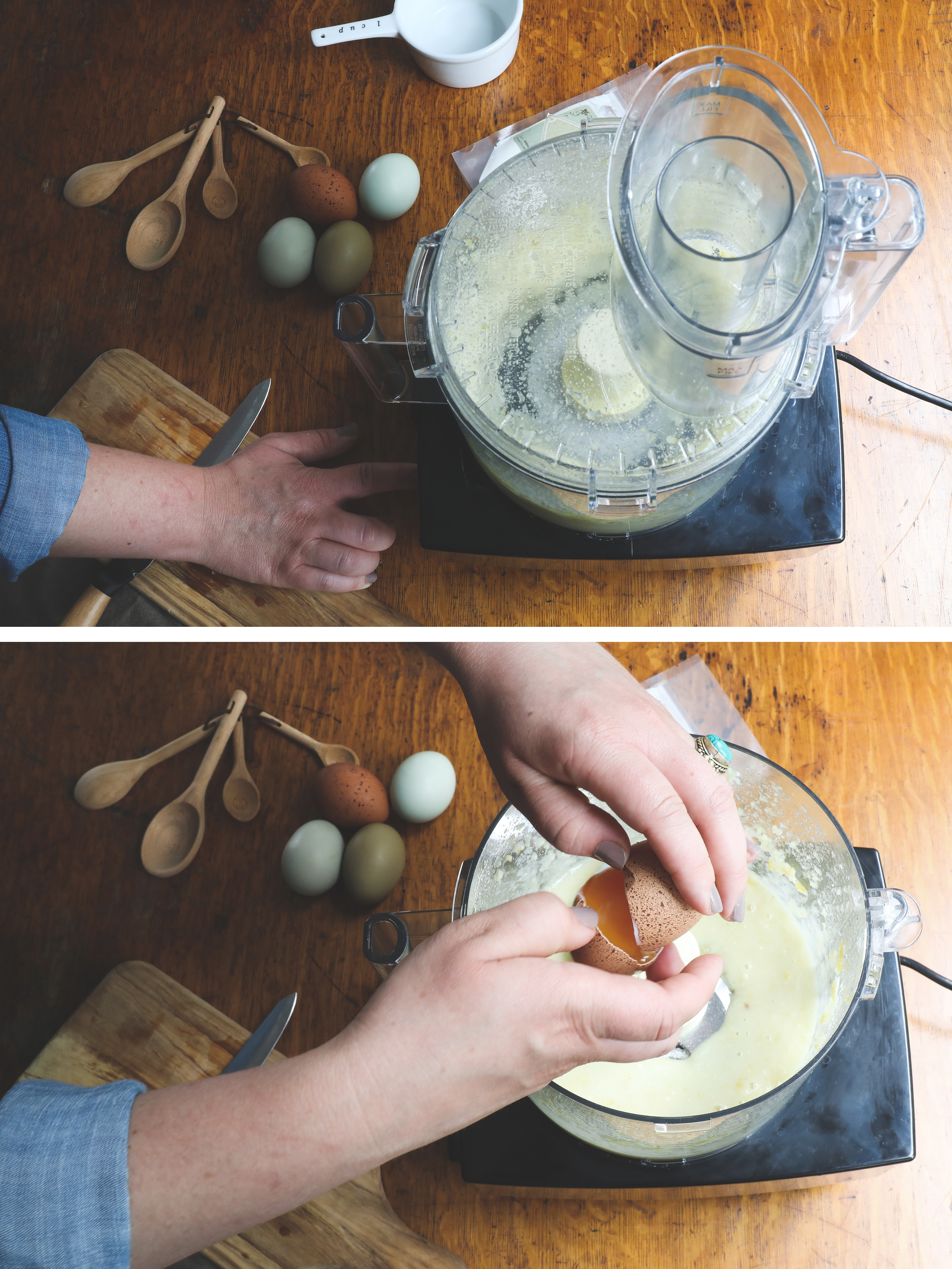 Hands cracking eggs into food processor to make lemon lavender thyme bars